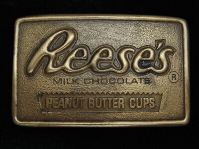 QJ09119 *NOS* VINTAGE 1970s **REESE'S MILK CHOCOLATE PEANUT BUTTER CUPS** BUCKLE
