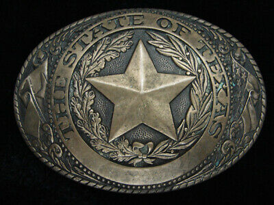 QJ09140 VINTAGE 1980s **TEXAS** STATE COMMEMORATIVE SOLID BRASS BELT BUCKLE