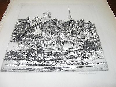 1929 Art PRINT - JOHN TAYLOR ARMS of CATHEDRAL of NOTRE DAME Lower Town ETCHING