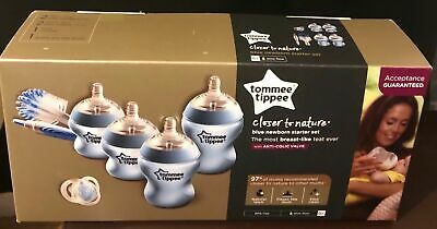 Tommee Tippee closer to Nature Newborn Bottle Starter Set Blue Pink White New