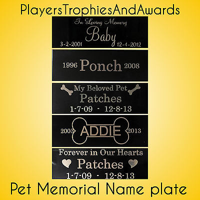 Pet memorial 1 x 3 Custom name plate aluminum metal Custom engraving 1x3 dog cat