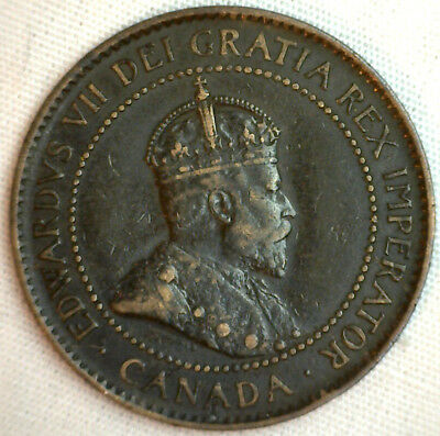 1904 Copper Canadian Large Cent Coin 1-Cent Canada XF #10