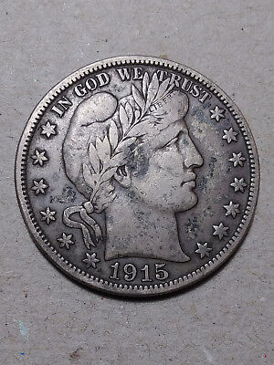 1915 S 50C Barber Half Circulated  90 % Silver US Coin BH167 VF/VF+