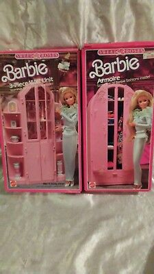 VINTAGE 1980s BARBIE SWEET ROSES ARMOIRE & 3 PIECE WALL UNIT SET