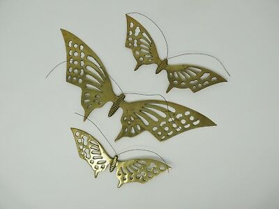 Brass Wall Hanging Butterflies Set of Three Vintage Interpur Taiwan Butterfly
