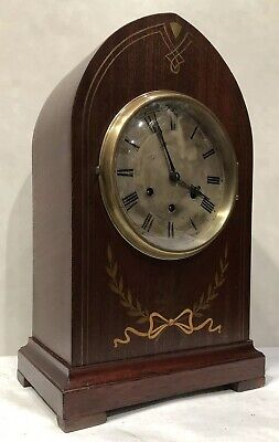 Large Brass Marquetry Inlay Tombstone Gustav Becker Westminster Mantel Clock