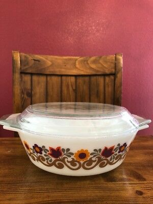 Vintage Pyrex JAJ England Briarwood Milk Glass Casserole Dish With Floral Flower