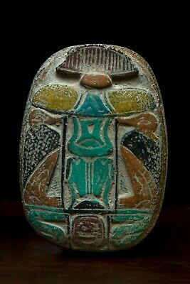 EGYPTIAN ANTIQUES EGYPT SCARAB Beetle Stela Relief STONE Circa 1550-1075,BC