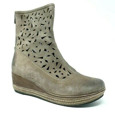 09ee31aa07fc Antelope Womens Lasercut Wedge Booties Size 41 EU 11 US Perforated Gray  Suede