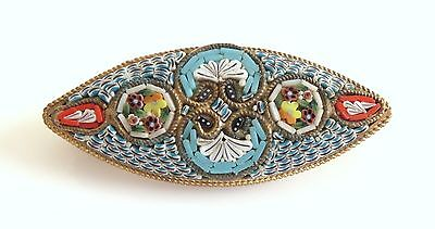 Antique Fine Victorian Micro Mosaic Floral Brooch Pin Italy Gilt