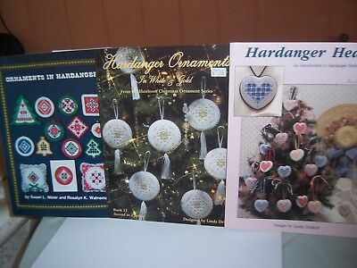 3 Book Lot Hardanger Embroidery Ornaments in White & Gold Heart Primitive