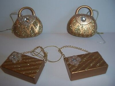 4 Kurt Adler ? Gold Glitter Jeweled Purse Clutch Handbag Christmas Ornaments