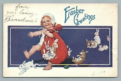 Cute Toddler Baby w Bundle of Easter Bunny Rabbits—Antique Postcard (Crease) 10s
