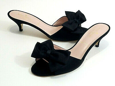 ff5ccb893d8f NWOB $250 Kate Spade New York Italy Black Satin Bow Kitten Heels Pumps 8 M