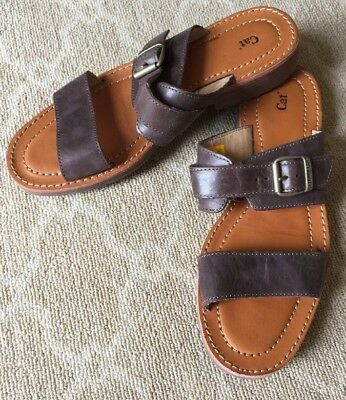 41b0e12d6a8c Cat Caterpillar Women s Brown Leather Slip On Slides Sandals 7.5 US  38.5  NWOB
