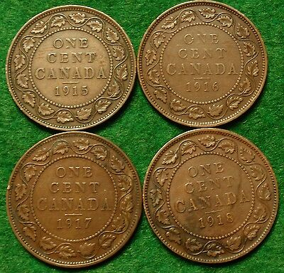 1915 1916 1917 1918  CANADA LARGE CENT George V COIN NoRes CANADIAN