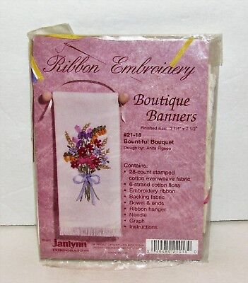 Janlynn Ribbon Embroidery Kit Boutique Banners 21-18 Bountiful Bouquet