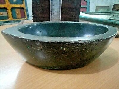 Antique Black Stone Hand Carved Big Spice Heavy Grinding Mortar Pestle KHRAL