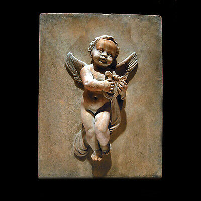 Angel-Eros with Lyre Wall Relief Sculpture Plaque