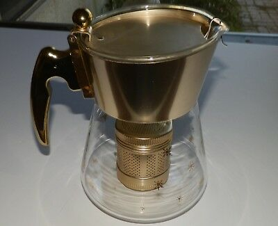 Vintage Douglas Flameproof Snowflake Glass Coffee Perculator