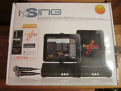 I Sing Karaoke Machine Sound System IPad Tablet IPhone IPod Kindle 2 Microphones