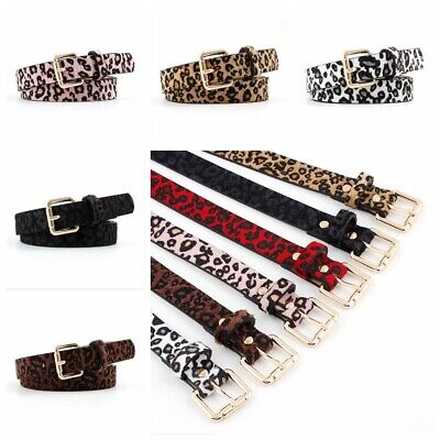 Women Lady Fashion Waist Belt Leopard Pattern Rose Gold Metal Buckle Waistband