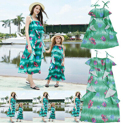 Family Clothes Mother Daughter Dresses Womens Girls Floral Long Maxi Dress