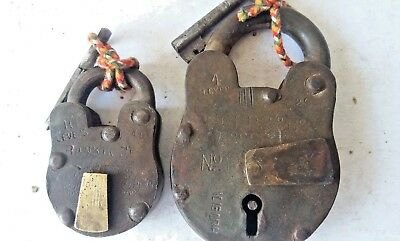 Old Indian Antique 2 PadLock With Key Lock Iron 10 level  Hand Crafted Key Lock