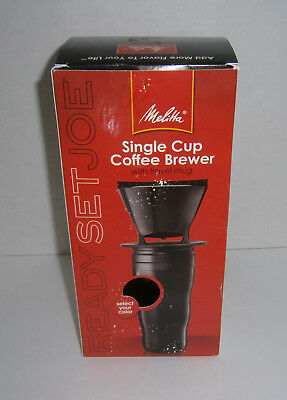 New in Box Melitta Coffee Maker Single Cup Brewer w/ Black Travel Mug + Filters