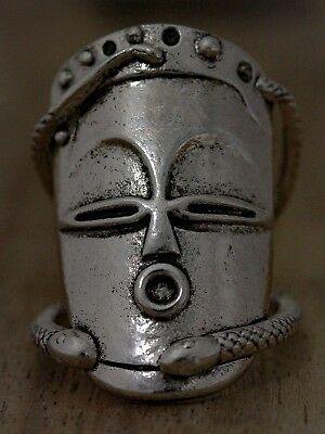 Voodoo Hoodoo Face Mask Ring Arty Statement Silver White Black Magic Snake Witch