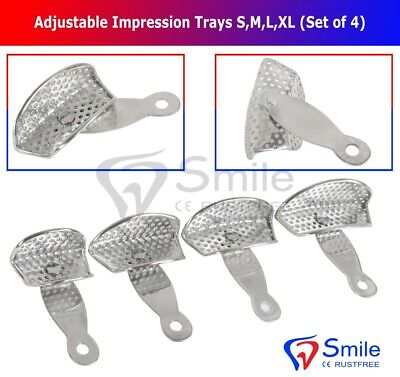 Set Of 4 Impression Trays Partially S,M,L,XL - Rotatable Handle -Smooth Rim Lock