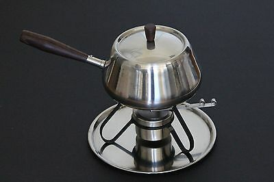 REDUCED Dolphin 18/8 Stainless Steel 5-Piece Fondue Warming Dish MidCentury Scan