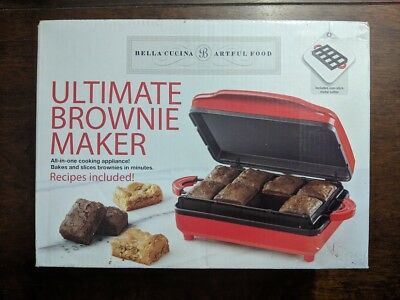 NEW in Box Bella Cucina Ultimate Brownie Maker 13540 Treats Series Red!