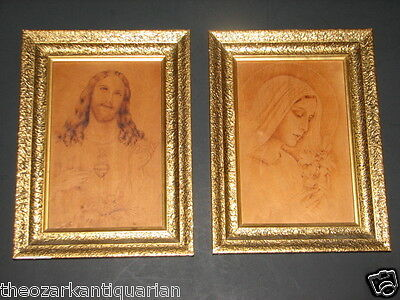 Jesus Christ Sacred Heart & Virgin Mary lily pyrography old Bavaria Schrodel