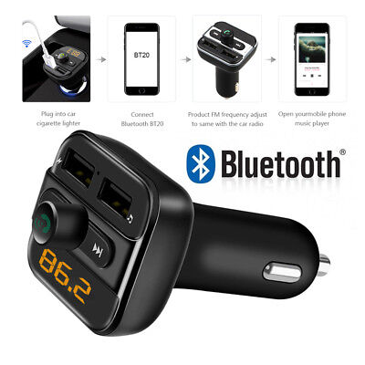 3.4A Wireless Bluetooth Car Kit FM Transmitter USB Charger Audio MP3 Player UK