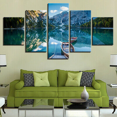 Wall Art Sightview 5 Panel Canvas Prints Sea Beach for Livingroom Mountain