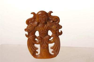 CHINESE CARVED JADE stone SMALL  FIGURE OF a WOMAN PENDENT