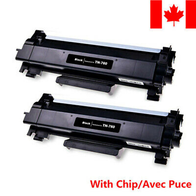 2PK TN760 Black Toner Cartridge With Chip For Brother MFC-L2750DWXL HL-L2370DW