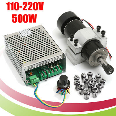 500W Air Cooling Spindle Motor + Speed Governor + 13pcs ER11 Spring Collets Set