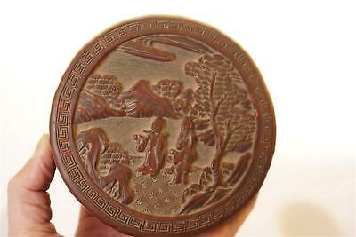 ANTIQUE CHINESE CINNABAR HAND CARVED SCENE  Lacquer Box