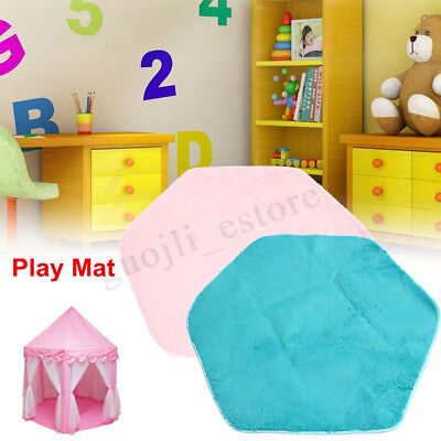 Soft Velvet Kids Play Rug Mat Cushion Hexagon Castle Crawling Blanket Floor