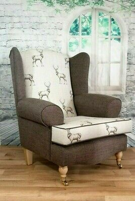 Queen Anne Wing Back Cottage Chair Stag Print & Brown Plain Fabric