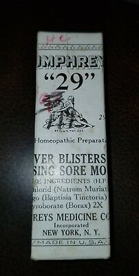 Antique Humphreys Homeopathic Medicine NOS #29 Fever Blister Nursing Sore Mouth