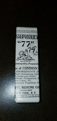 Antique Humphreys Homeopathic Medicine NOS #77 Symptoms of common cold small