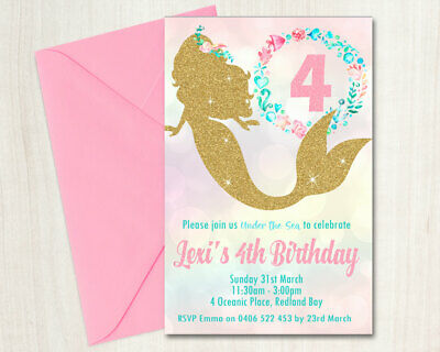 Custom Printable Girl Birthday Invitation Any Age Gold Glitter Mermaid Bokeh