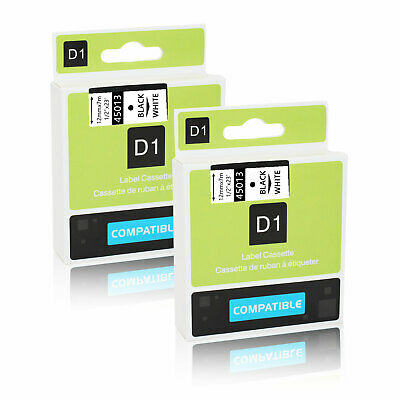 2PK Black on White Label Tape For Dymo D1 45013 12mm 7m LabelManager 160 200