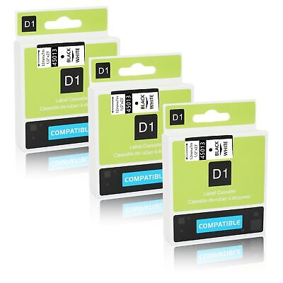 3PK Black on White Label Tape For Dymo D1 45013 12mm 7m LabelManager 160 200