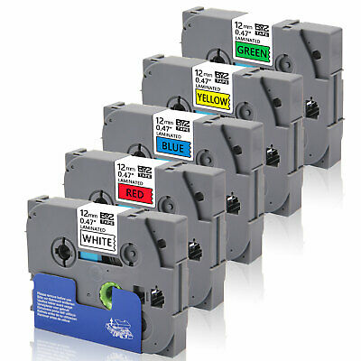 5Pk Compatible for Brother p-touch printer TZe231-TZe731 12mm  Label Tape PTD600