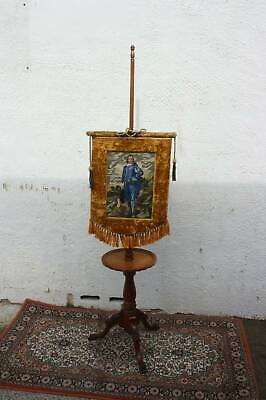 A French Victorian Pole with Tapestry Fire Screen with and Table