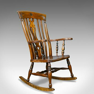 Antique Rocking Chair, Edwardian, Country Kitchen, Windsor Elbow Chair C.1910